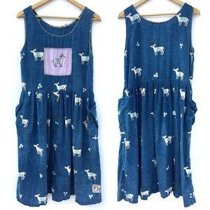 Hippie Batik Deer Print Drop Waist Tank Dress